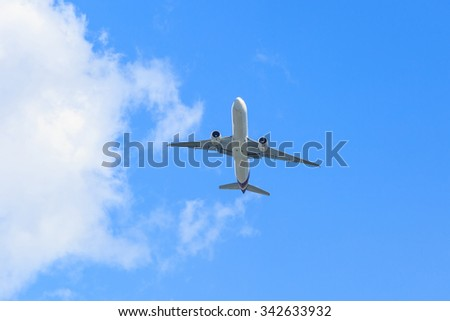 Plane prepare landing on blue sky