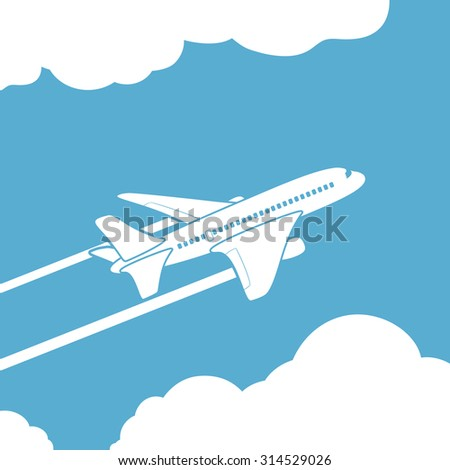 Plane silhouette against the sky with clouds. Stock image. - stock photo