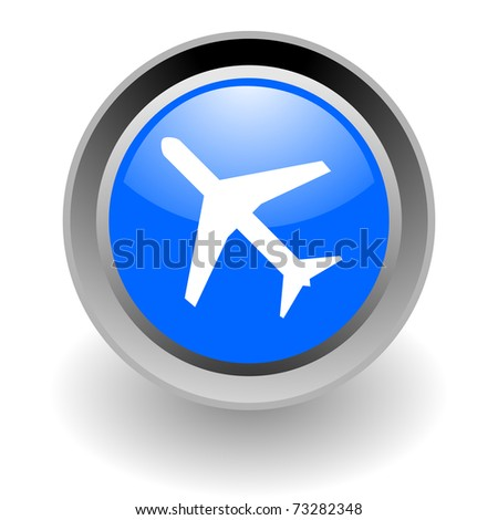 plane steel glosssy icon - stock photo