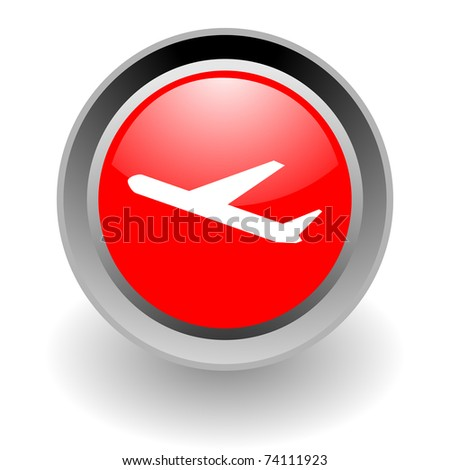 plane steel glossy icon - stock photo