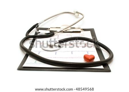 plane-table with the sheet of cardiogram on a white background for your illustrations - stock photo