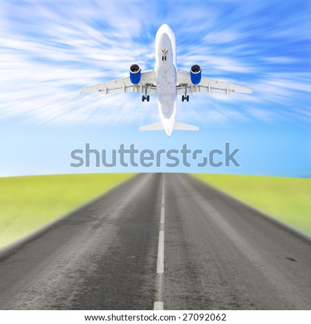 Plane taking off - stock photo