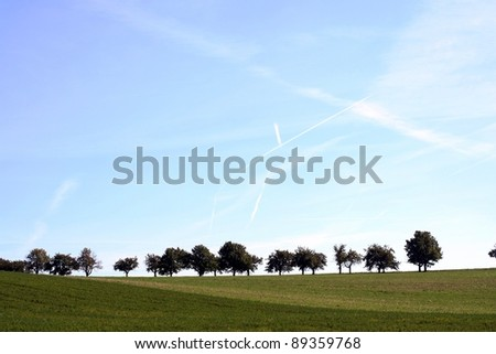Plane tracks in a sky and chain of trees - stock photo