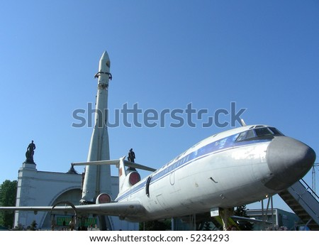 Plane Tu-154 and spaceship at All-russian exhibition centre (former All-union Industrial Exibition, VDNH) at Moscow, Russia - stock photo