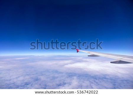 Plane wing, Blue sky and cloud
