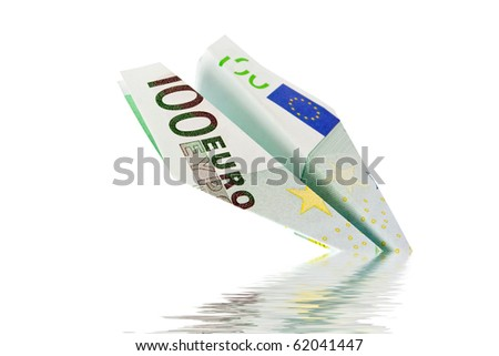 plane with euro banknotes falls into the water - stock photo