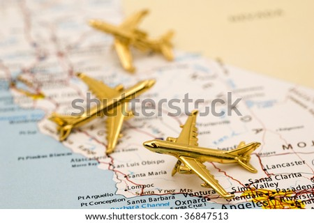 Planes Arriving and Departing from California. - stock photo