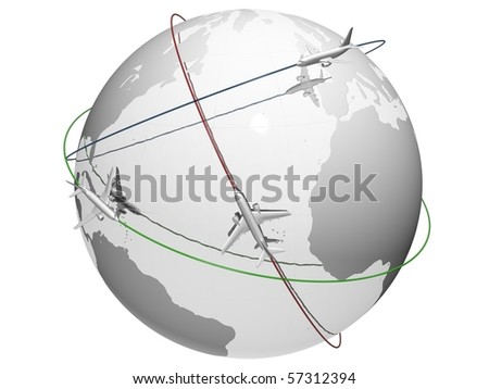 Planes flying around the globe - colorful routes - stock photo