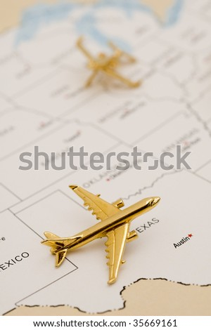 Planes Over Southwest. Map is Copyright and Trademark Free, Downloaded off www.nationalatlas.gov - stock photo