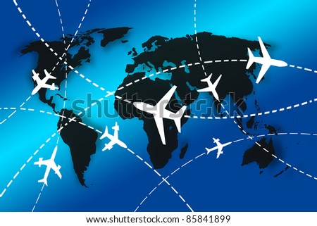 planes Routes around the world for travel concept - stock photo