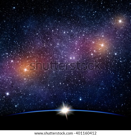 Planet and galaxy. Elements of this image furnished by NASA. - stock photo
