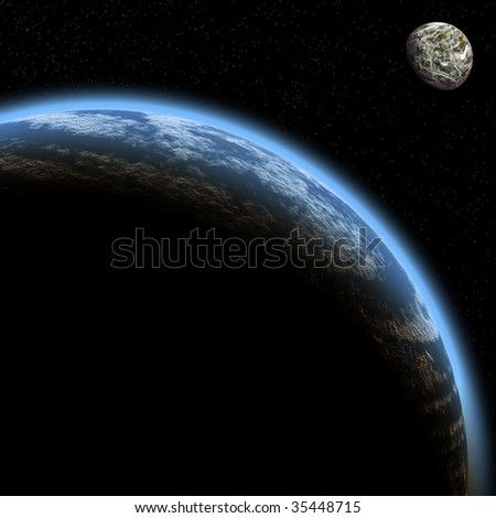 Planet and its satellite in space