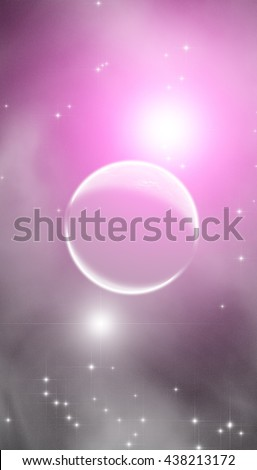 Planet and milky way stars and star-dust in deep space / cosmos. No elements of NASA or other third party. - stock photo