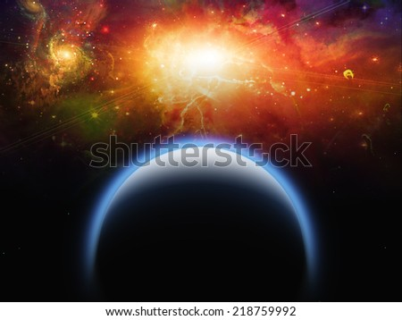 Planet and Star scape Elements of this image furnished by NASA - stock photo