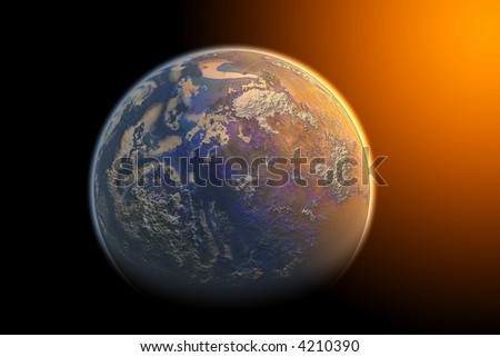 Planet and sun effect isolated on black