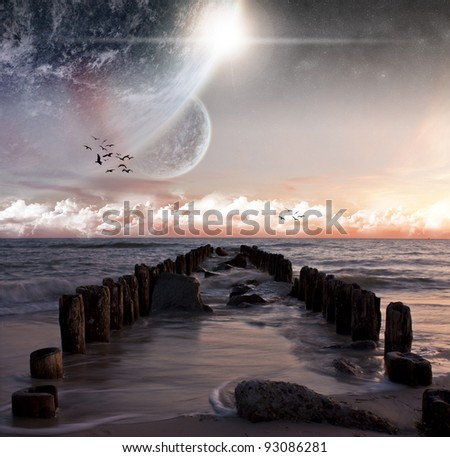 Planet beach landscape - stock photo