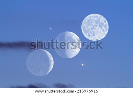 Planet conjunction of Venus, Moon (phases) and Jupiter with it's Galilean satellites.  - stock photo