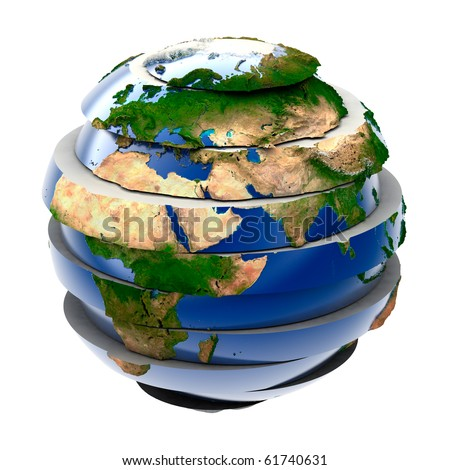 Planet Earth - a puzzle that is assembled from parts - stock photo