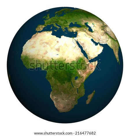 Planet earth. Africa, part of Europe and Asia. Elements of this image furnished by NASA. - stock photo