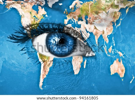 """Planet Earth and blue human eye - """"Elements of this image furnished by NASA"""" - stock photo"""