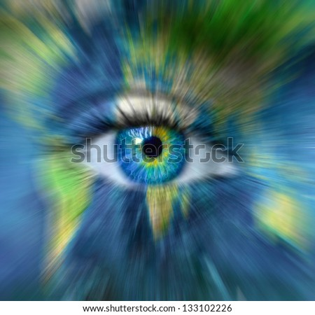 "Planet earth and blue human eye in motion blur - Time passing for Planet Earth concept  - ""Elements of this image furnished by NASA"" - stock photo"