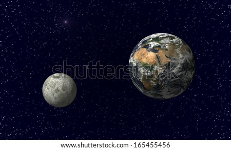 Planet earth and moon. Image including elements furnished by NASA. - stock photo