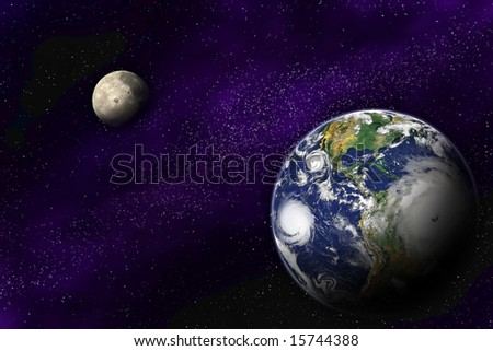 Planet Earth and Moon in the deep space - stock photo