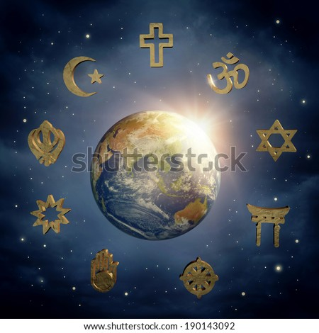 Planet Earth and religious symbols (Elements of this image furnished by NASA)) - stock photo