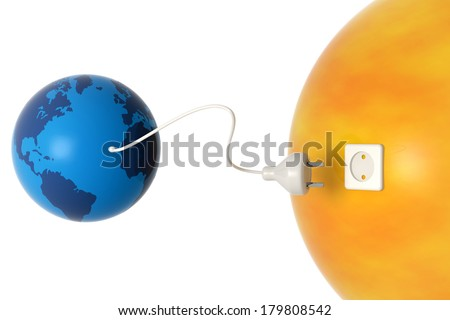 planet earth and sun connected by an electric cable - stock photo