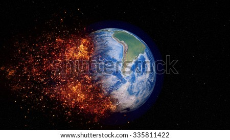 Planet Earth Apocalypse - Elements of this image furnished by NASA - stock photo