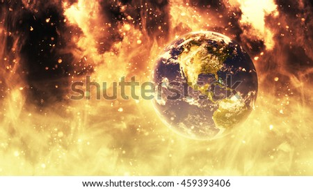 Planet Earth Apocalypse Global Warming War Chaos Concept (Elements of this image furnished by NASA) - stock photo