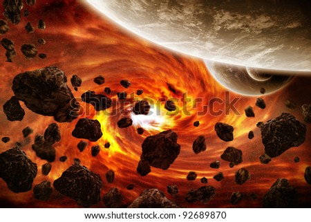 Planet Earth apocalypse illustration - stock photo