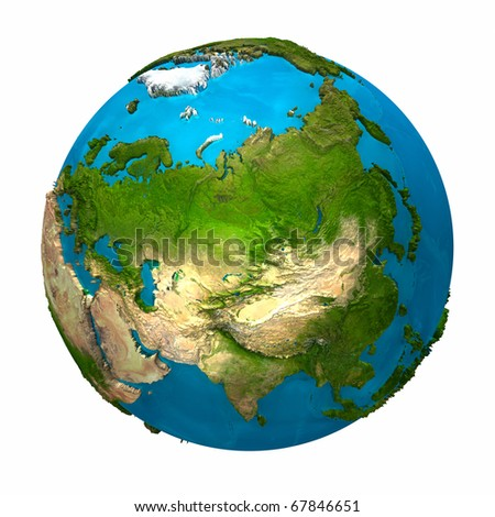 Planet Earth - Asia - colorful globe with detailed and realistic surface, 3d render - stock photo