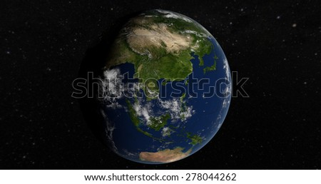 Planet Earth - Asia 3D Globe - Elements of this image furnished by NASA