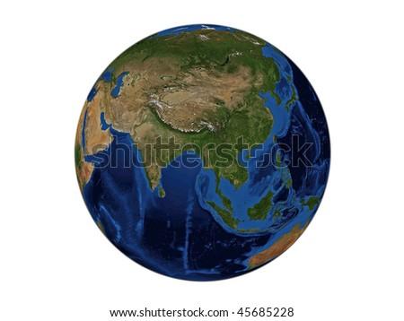 Planet Earth - Asia, Data Source: NASA - stock photo