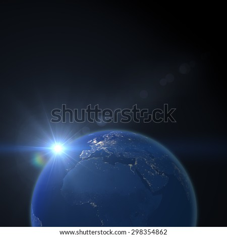 Planet Earth at nighttime before sunrise (Elements of image furnished by NASA)
