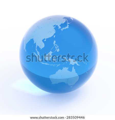Planet Earth blue water globe isolated with clipping path on white