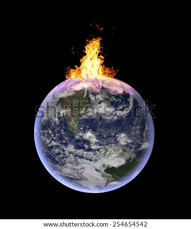 planet earth catching fire: symbolic image for global warming, exploitation of natural resources, environmental crisis - CGI of planet earth in space. Elements of this image furnished by NASA. - stock photo