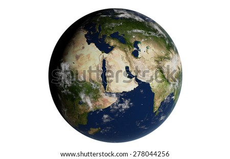 Planet Earth 3D Globe Isolated - Mediterranean - Elements of this image furnished by NASA - stock photo