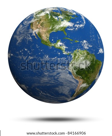 Planet Earth 3d render. Earth globe model, elements of this image furnished by NASA