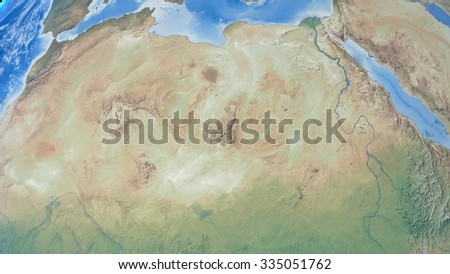 Planet Earth 3D Snapshot of The Northern African Continent. Elements of this image furnished by NASA - stock photo