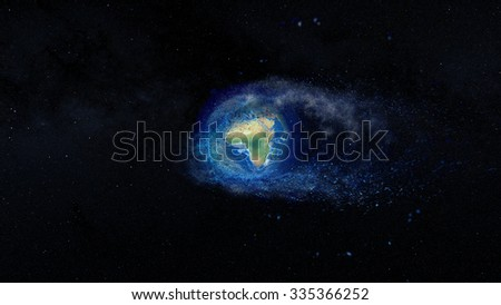 Planet Earth Decomposing Splash - Elements of this image furnished by NASA. - stock photo