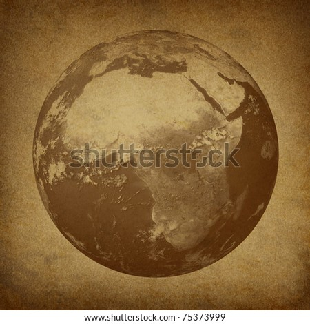 Planet Earth featuring Africa and the middl east  featured countries including Egypt Libya Kenya on a grunge old parchment paper texture. - stock photo