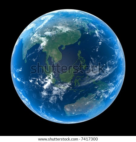 Planet Earth featuring Asia and Oceania with atmosphere and cloud formations - stock photo