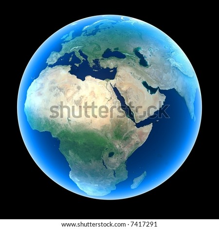 Planet Earth featuring Europe, Africa and the Middle East - stock photo