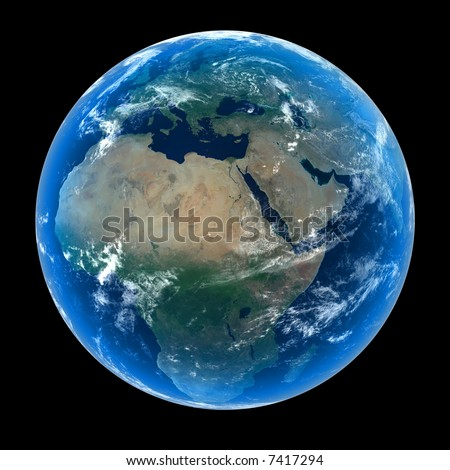 Planet Earth featuring Europe, Africa and the Middle East with atmosphere and cloud formations - stock photo