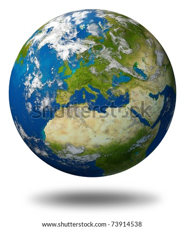 Planet Earth featuring Europe and European union countries including France Germany Italy and England surrounded by blue ocean and clouds isolated on white. - stock photo