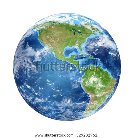 Planet Earth from space showing North & South America, USA. World isolated on white background. Elements of this image furnished by NASA - stock photo