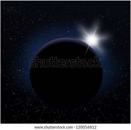 Planet earth from space with sunrise in - stock photo
