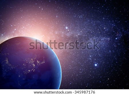 Planet earth from the space with stars. Some elements of this image furnished by NASA - stock photo